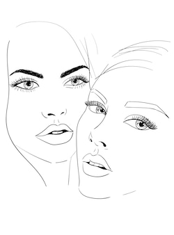 Two women faces sketch