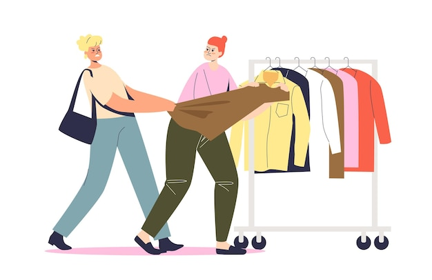 Two women fighting on shopping