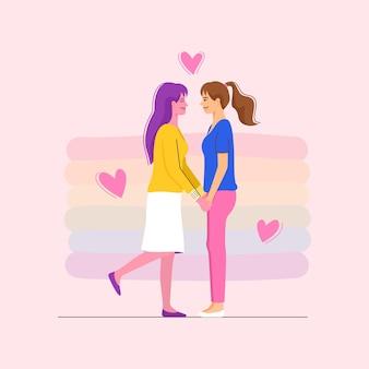 로맨틱 데이트에 손을 잡고 두 여자