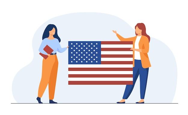 미국 국기를 들고 두 여자
