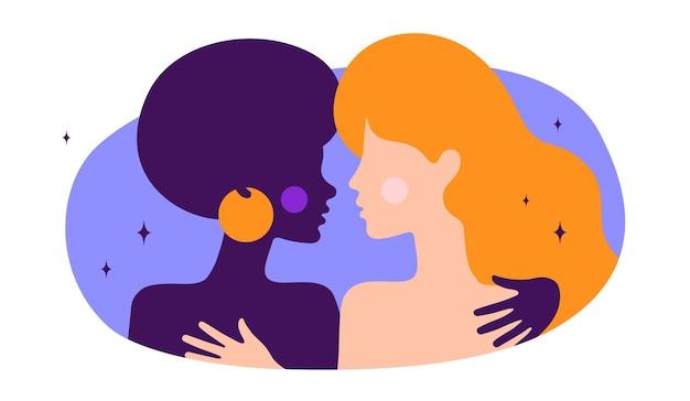 二人の女性が抱き合って、ロマンチックな愛。