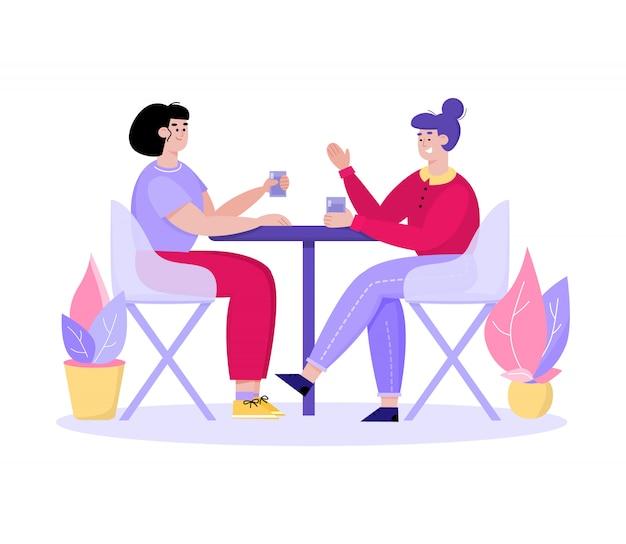 Две женщины в кафе разговаривают и пьют - подруги-мультики