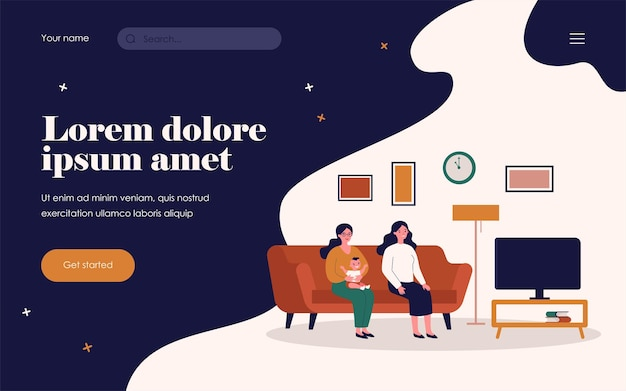 Two women and kid watching tv. gay parents, friends, mother with baby flat vector illustration. family, friendship, home concept for banner, website design or landing web page
