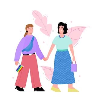 レインボーフラッグを保持している2人の女性のレズビアンのカップルまたはlgbtの活動家のキャラクター