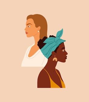 国籍や文化の異なる2人の女性が一緒に立っている女の子の肖像画。フェミニズム、女性のエンパワーメント運動、姉妹関係のコンセプトデザイン。