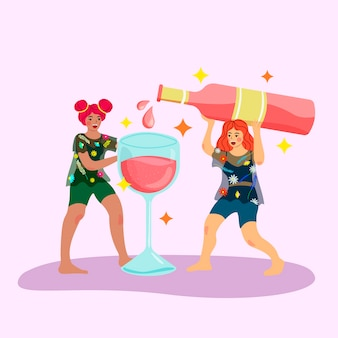Two women party pouring rose wine from a huge bottle. female friendship, fun, girl power and party concept. flat trendy