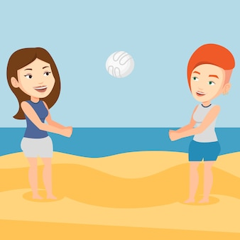 Two women playing beach volleyball.
