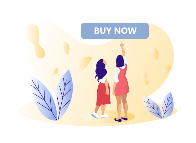 Two women pointing to buy now banner or button.