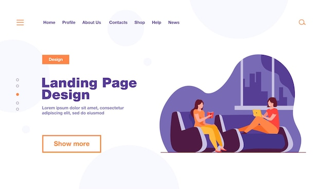 Two women relaxing at home landing page template Free Vector