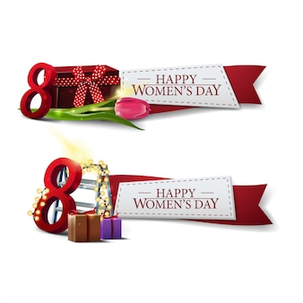 Two women's day template with red ribbons
