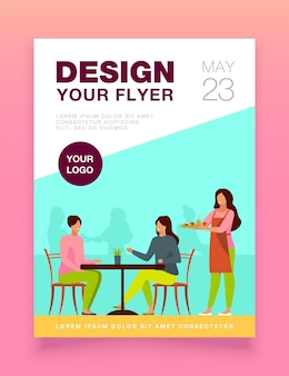 Two women sitting in cafe flyer template