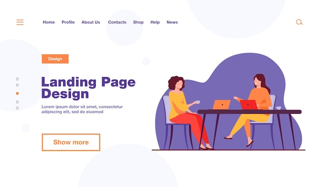 Two women sitting in cafe with laptops landing page template