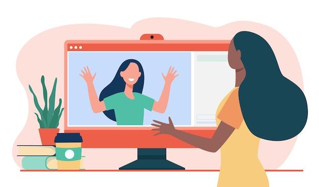 Две женщины разговаривают по видео через компьютер. монитор, друг, дистанционная плоская векторная иллюстрация. связь и цифровые технологии