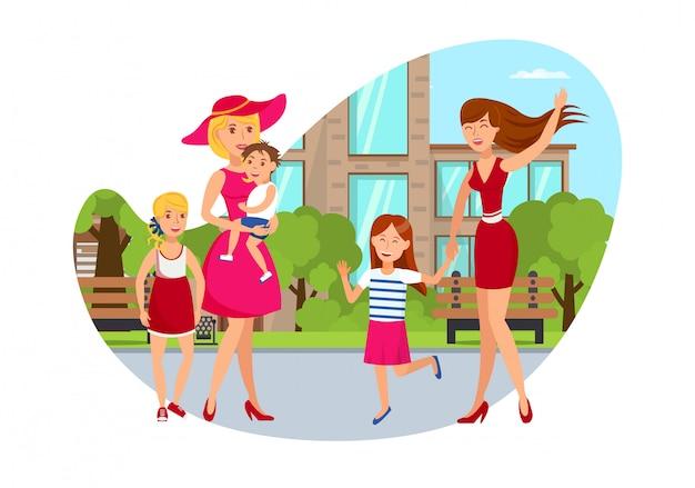 Two women with kids flat cartoon illustration