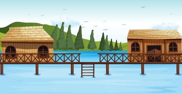 水上にある2つの木造バンガロー