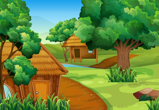 森の中の2つの木造の小屋