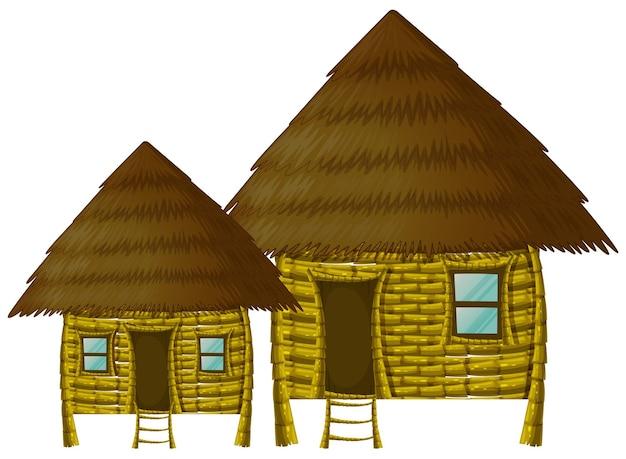 白い背景の上の2つの木造の小屋