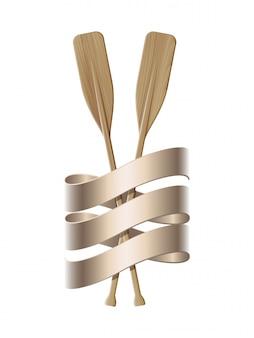 2つの木製のパドル。スポーツオール。ツインパドルとリボンの航海のエンブレム。マリンサマートラベル。