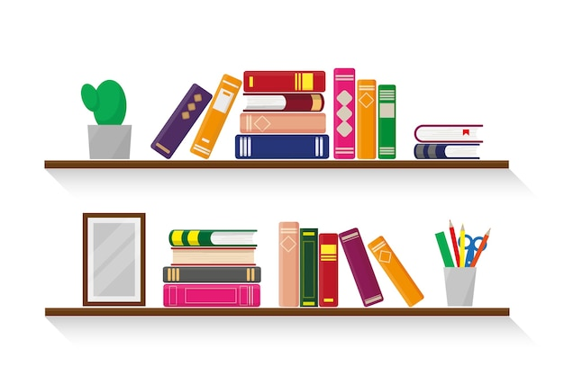 Two wooden shelves with books, plant, stationery and a photo frame on white background.