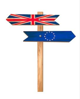 Два деревянных знака - великобритания и ес. концепция brexit. вектор.