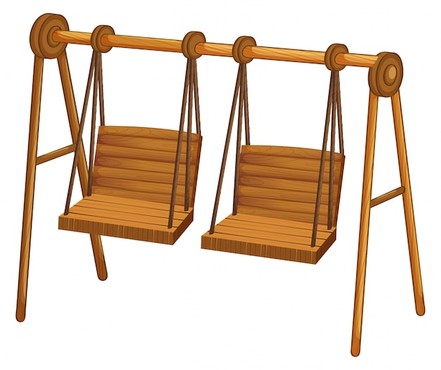 Two wooden swings on white