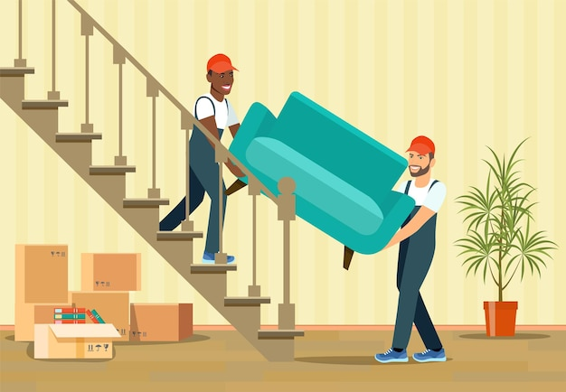 Two workers are carrying armchair up the stairs.  illustration