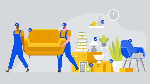 Two workers are carrying a sofa. moving boxes in new house. vector flat style illustration