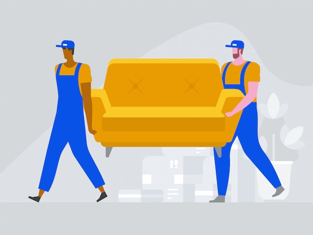 Two workers are carrying a sofa.