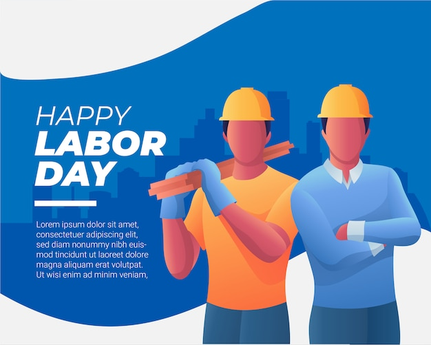 Two workers  and happy labor day