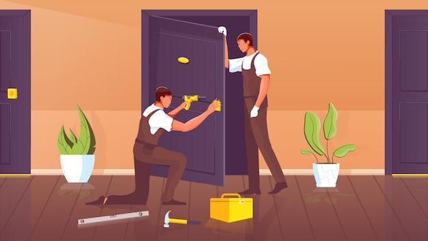 Двое рабочих в униформе с дрелью устанавливают дверь квартиры