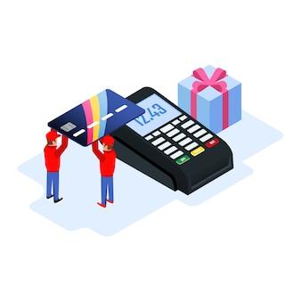 購入のためのキャッシュレス転送のためにposマシンで銀行またはクレジットカードを保持している2人の労働者。