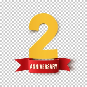 Two years anniversary. background with red ribbon.