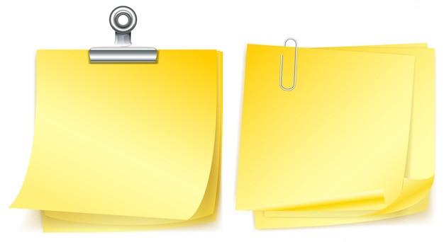 클립 두 개의 노란 종이