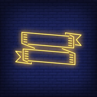 Two yellow ribbon banners on brick background. neon style