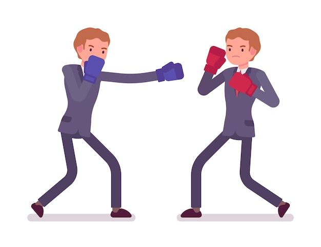 Two young businessmen boxing