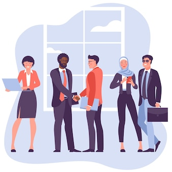 Two young businessmen shaking hands flat vector characters