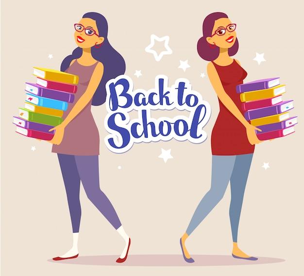 学校と星に戻るテキストと明るい背景に手で本のカラフルな山とドレスの2つの若い女の子完全な長さ。