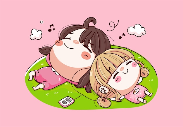 Two young girls lying listening to music and happy day