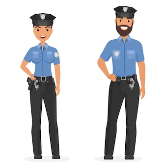 Two young happy police officers, man and woman isolated cartoon illustration