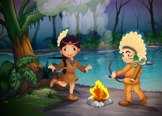 숲에서 두 젊은 인디언