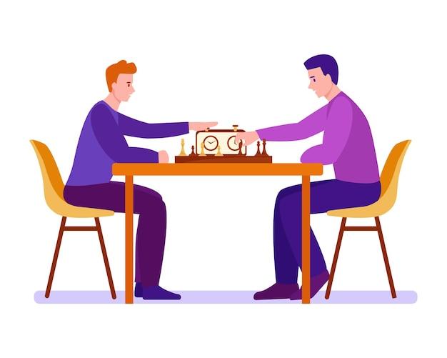 Двое молодых людей играют в шахматы. векторная иллюстрация в плоском мультяшном стиле. отдельный на белом фоне.