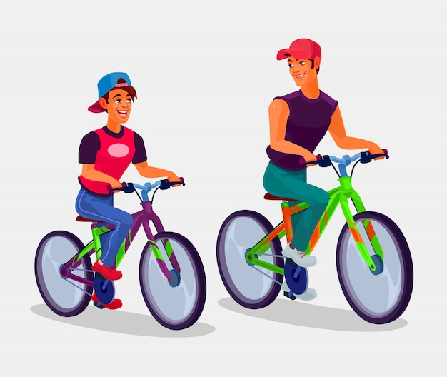 Two young men riding bicycles