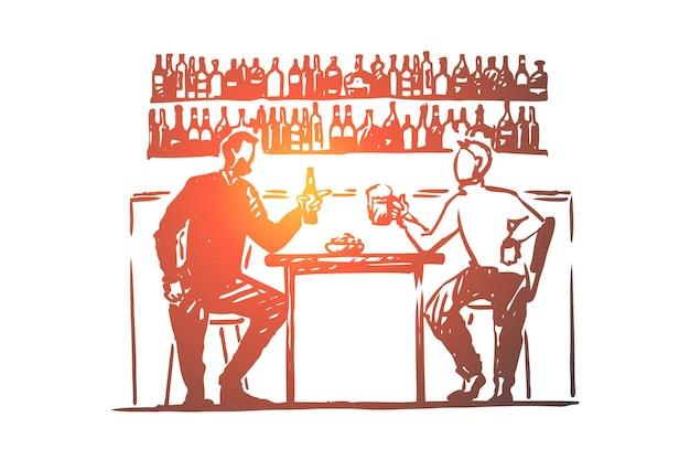 Двое молодых людей сидят в баре, пьют пиво, прилавок с бутылками иллюстрации