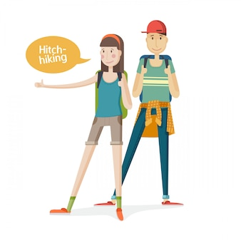 Two young people couple tourists. couple hitchhiking. young people with backpacks with a finger up. girl and boy hitchhiking in a cartoon flat.