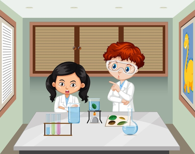 Two young scientist in the lab scene