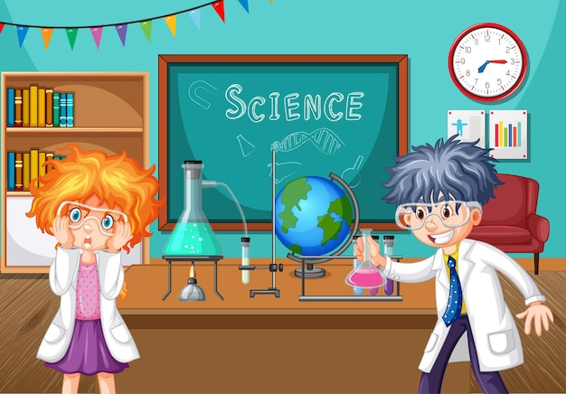 Two young scientists doing chemistry experiment in the classroom