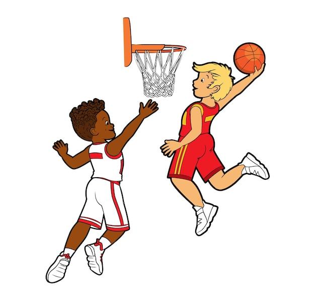 두 명의 젊은 10대 농구 선수가 농구 바구니 벡터 만화에 공을 던졌습니다.