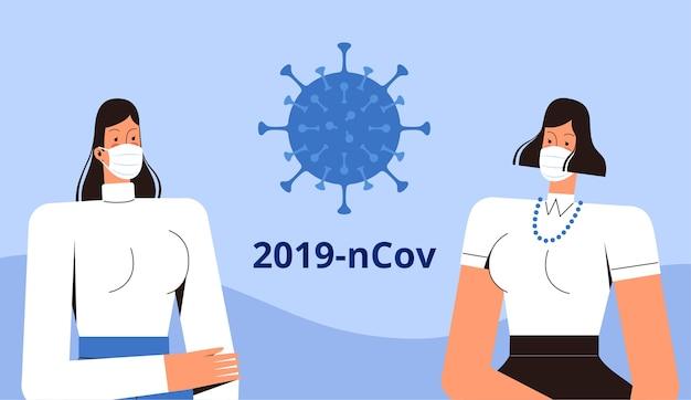 Две молодые женщины в медицинских масках стоят и смотрят на новый коронавирус 2019-ncov. концепция борьбы с вирусом covid-2019. плоский