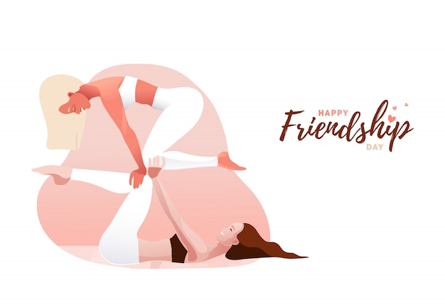 Two young women practicing acro yoga in couple. balance, support, unity, feminine friendship or sisterhood concept. happy friendship day.