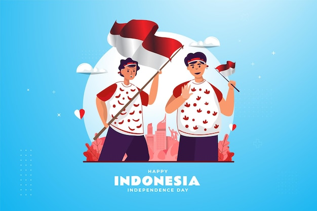 Two youths with indonesian flags illustration